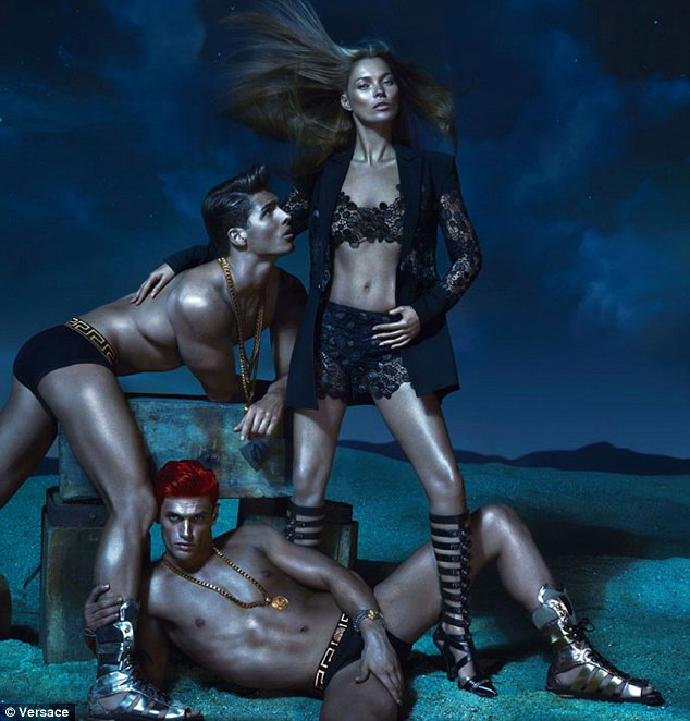 Glamazon goddess: Kate Moss looks almost unreconisable as she poses for Versace's Spring 2013 campaign