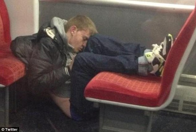 Well trained: The amusing pictures of prone passengers show people can sleep in some remarkable positions