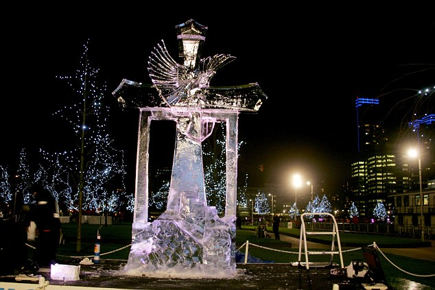 Ice, ice, baby: One of the efforts at the London Ice Sculpting Festival in Canary Wharf taking place this weekend