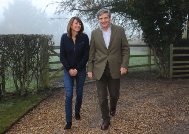 The parents of Kate Middleton, Michael and Carole, outside their home near the Berkshire village of Bucklebury
