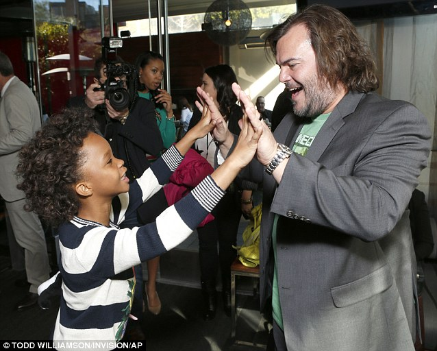 Big fan: Quvenzhane Wallis and Jack Black connected at the Film Independent Spirit Awards Luncheon at BOA Steakhouse on Saturday