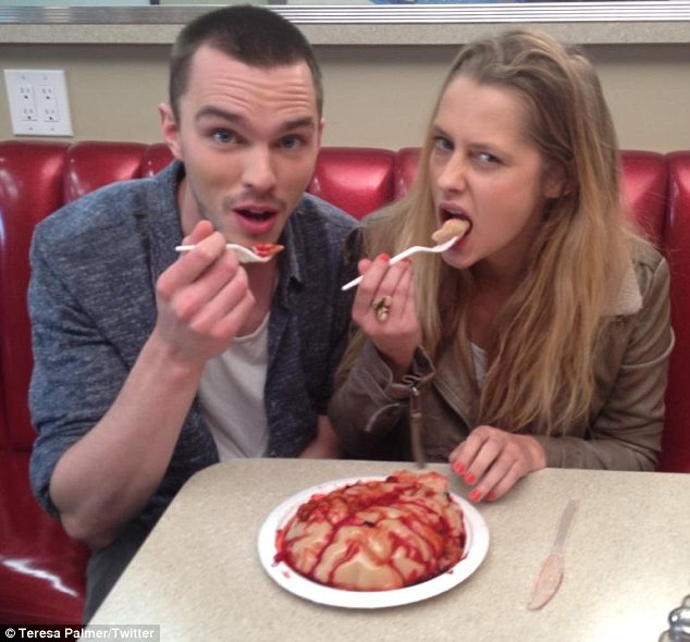 That was fast: Nicholas Hoult has been cosying up to Warm Bodies co-star Teresa Palmer following his reported split from Jennifer Lawrence