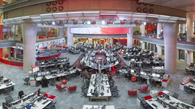 Bunker: The BBC's news room at New Broadcasting House is bomb proof to protect staff from suicide attacks