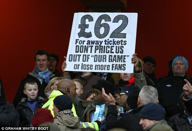Making a stand: A number of City fans boycotted the Arsenal game last January while others protested