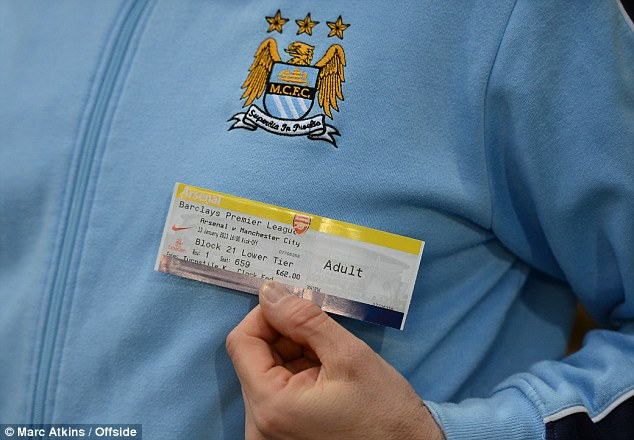 The price of following your team: A match ticket for the Arsenal v City game in the away end