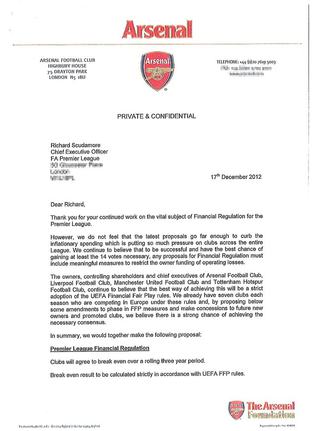 FFP plans: The letter, revealed exclusively by Sportsmail's Martin Samuel, with the Arsenal header which says the proposed regulations do not go far enough