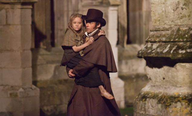 Star turn: Hugh Jackman plays Valjean while young Isabelle Allen plays his surrogate daughter Cosette
