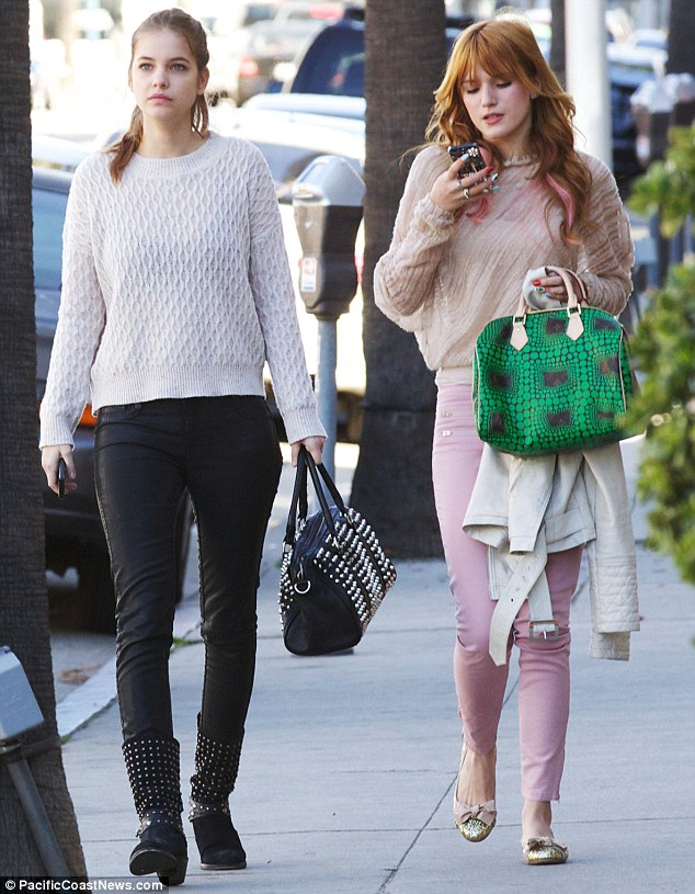 Young Hollywood pals: Bella Thorne and Barbara Palvin grabbed brunch at Le Pain Quotidien in Beverly Hills on Sunday