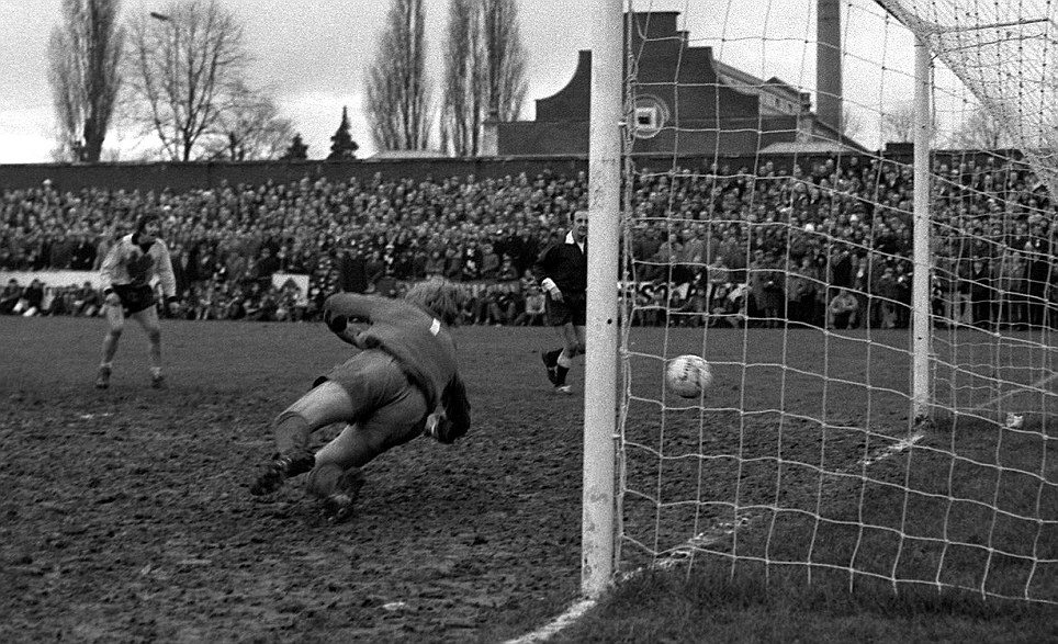 How many times have we heard the words 'great leveller' when it comes to a cup tie? This picture of the ball creeping in for Hereford's winner gives you some indication of the state of the pitch on that February afternoon