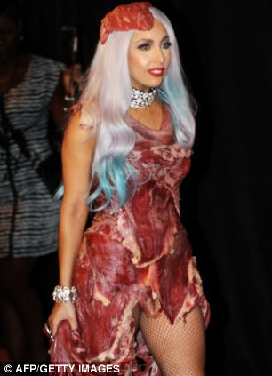 Lady Gaga wears her controversial meat dress, at the 2010 MTV Video Music Awards where she won eight awards