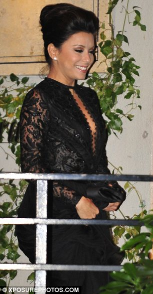 Party people: Eva Longoria and Anne Hathaway also attended the party at the Sunset Towers