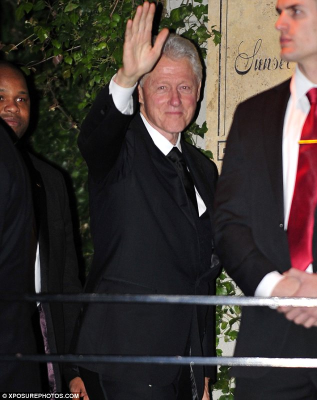 He's got every ticket in town: Bill also attended a bash at the Sunset Towers
