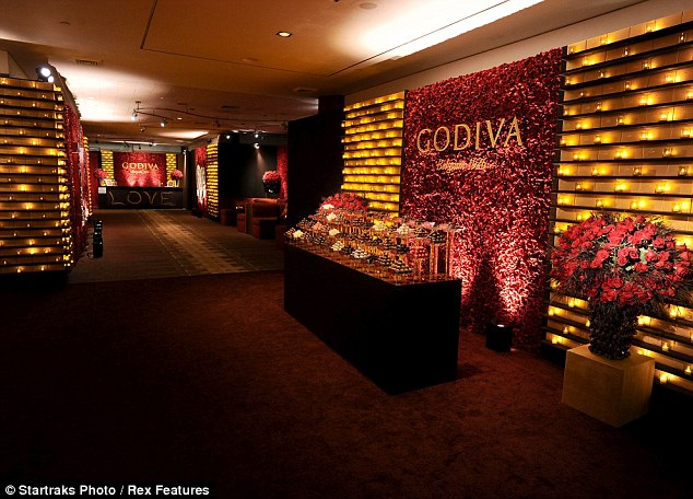 All you need is love: The love-themed party was sponsored by Godiva chocolates