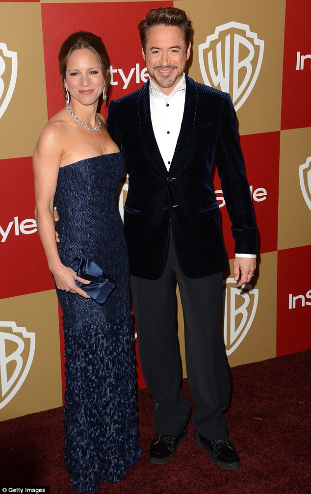 Coordinating: Robert Downey Jr. and wife Susan both stepped out in coordinating blue