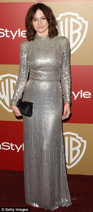 Forget gold: Emily Mortimer shimmied inside wearing her silver sequins while Hart of Dixie star Jaime King