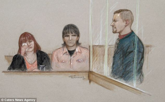 A sketch of Mark Bridger in the dock, right, as April Jones's parents, left, sat less than 10ft away from him