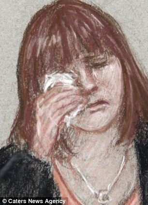 Artist impression of April's mother Coral Jones wiping tears from her eyes in court today