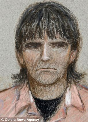 Artist impression of April's father Paul Jones in court today