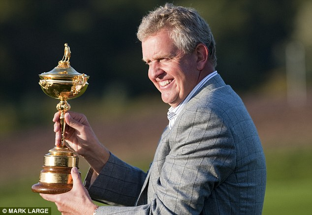 Emotional: Montgomerie already captained Europe to glory at Celtic Manor in Wales in 2010