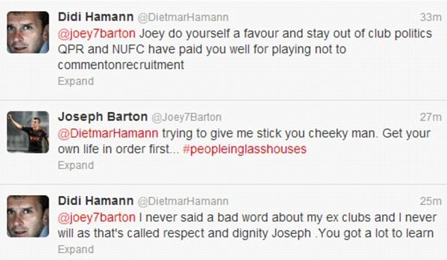 When it all kicked off: Hamann told Barton to keep out of club politics
