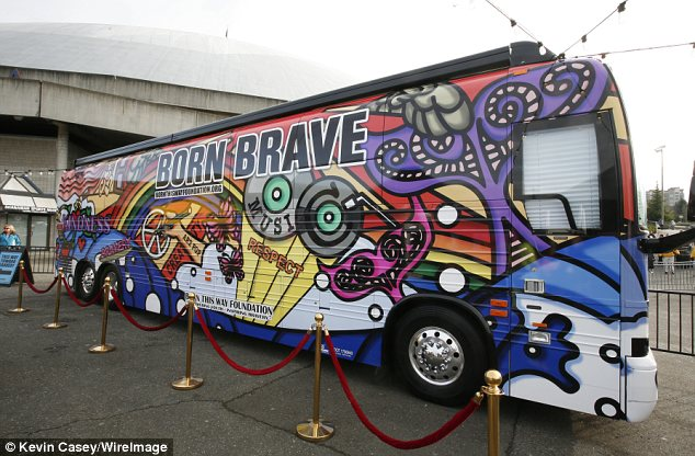 Psychedelic: In true Gaga fashion, the bus is painted as outlandishly as the owner
