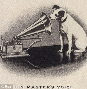 His Master's Voice: Originally a trademark for Gramophone Records, Nipper, the Jack Russell Terrier listening to a phonograph