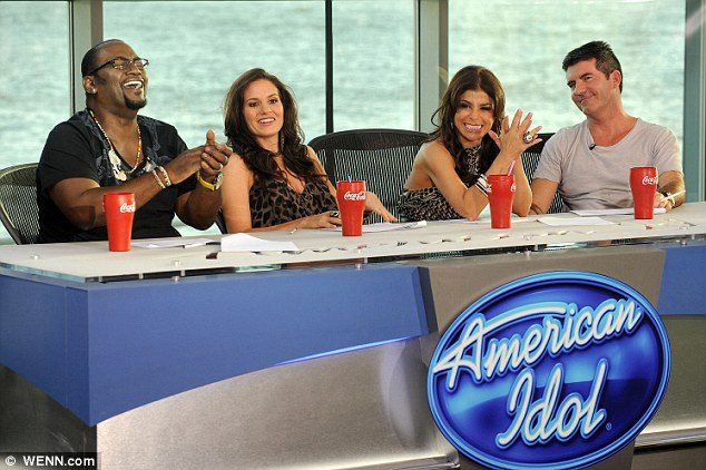 TV star: Kara seen here behind the judging panel on American Idol back in 2009 with Simon Cowell, Paula Abdul and Randy Jackson