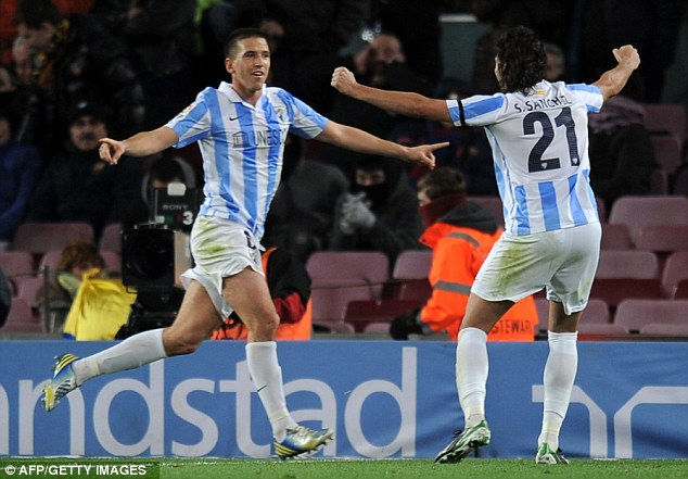 Stunned: Camacho scored a late equaliser for Malaga to give them the advantage ahead of the second leg next week