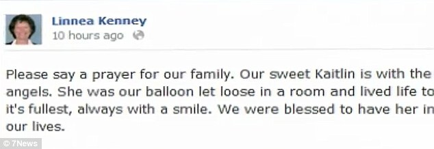 Devastated: The 21-year-old's mother Linnea posted this message on Facebook