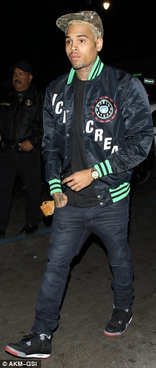 Out and about: Brown, 23, was pictured on Tuesday arriving at Supperclub in Los Angeles