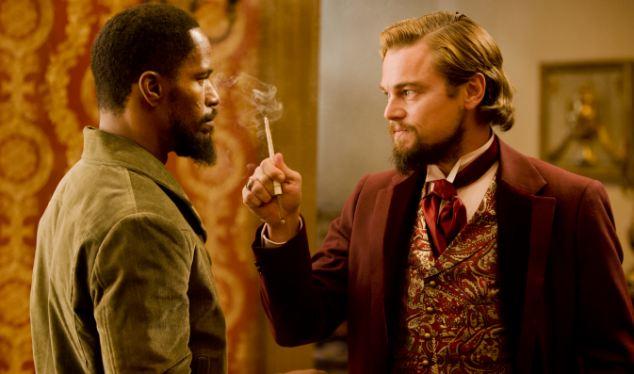 Jamie Foxx, left, and Leonardo DiCaprio in Tarantino's latest unique offering about slavery
