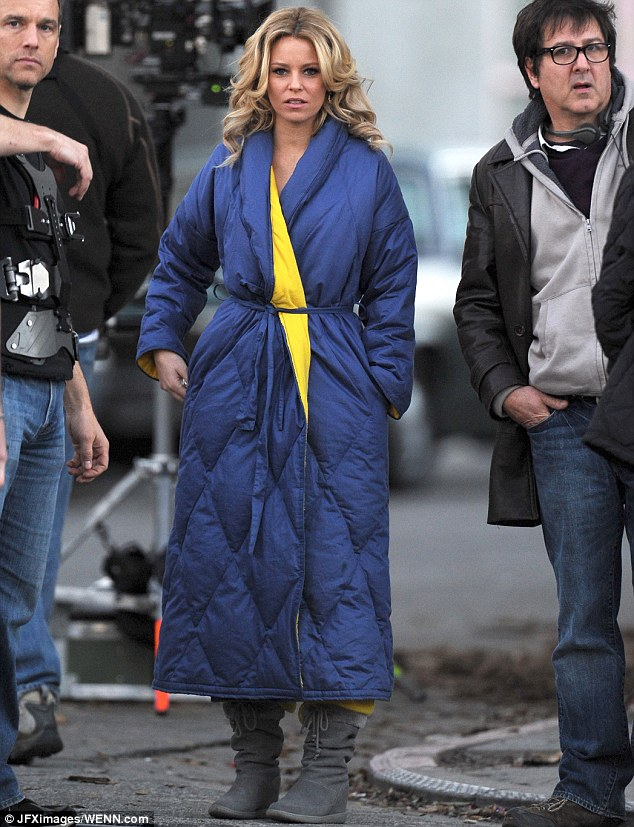 Keeping toasty: Elizabeth Banks covered up from the chilly weather in Los Angeles on Wednesday