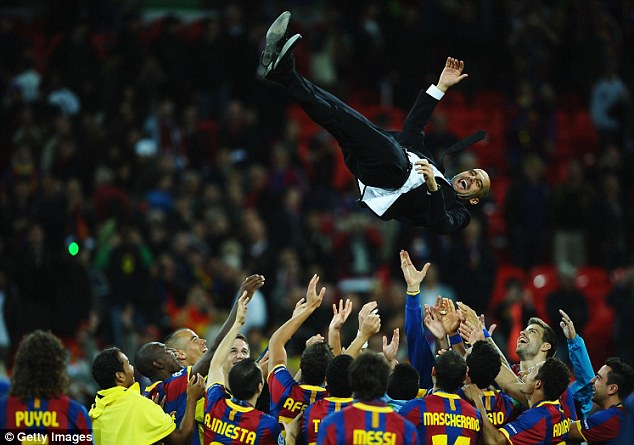 Sky high: Guardiola won two Champions Leagues and three Spanish titles with Barcelona