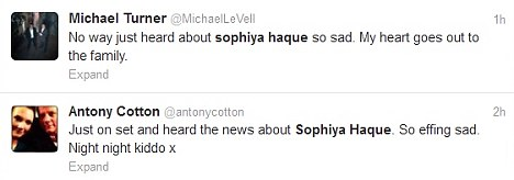 Tributes: Sophiya's former Corrie co-stars Michael Le Vell and Antony Cotton paid tribute to the actress