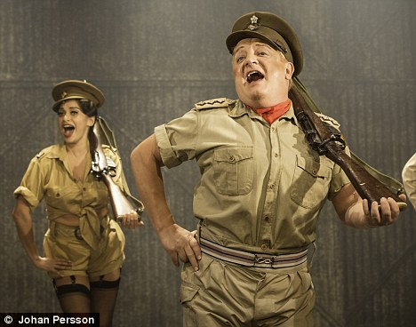 Last production: Sophiya performing with Privates On Parade co-star Simon Russell Beale in November