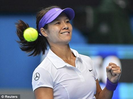 Easy does it: Li Na of China celebrates defeating Sorana Cirstea