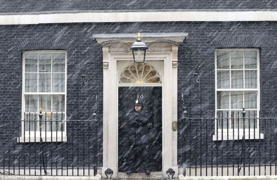 Iconic image: The driving snow gives a timeless feel to this picture of a policeman guarding the door to No 10