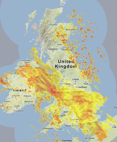 Radar map of Britain