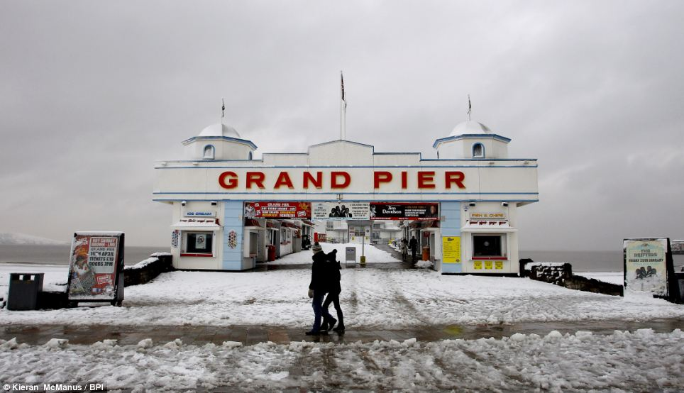 Seaside snow: Snow not sand dominated the beaches around the Grand Pier in Weston-Super-Mare, Somerset, today