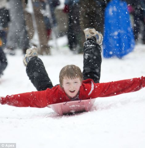 No hands: Children and adults have been loving the conditions in St Andrew's Park in Bristol