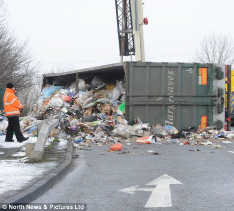 Spillage: The HGV tipped over close to a roundabout in North Shields and caused the road to be closed for several hours