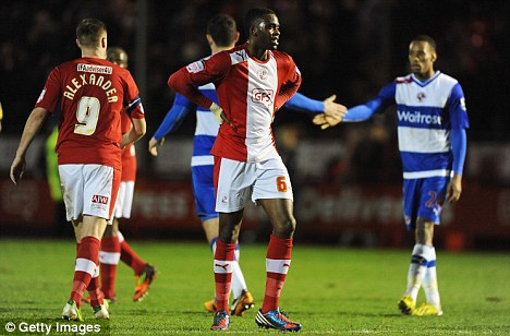 Set for Royal bow: Hope Akpan (centre) is yet to make his Reading debut since joining from Crawley earlier this month
