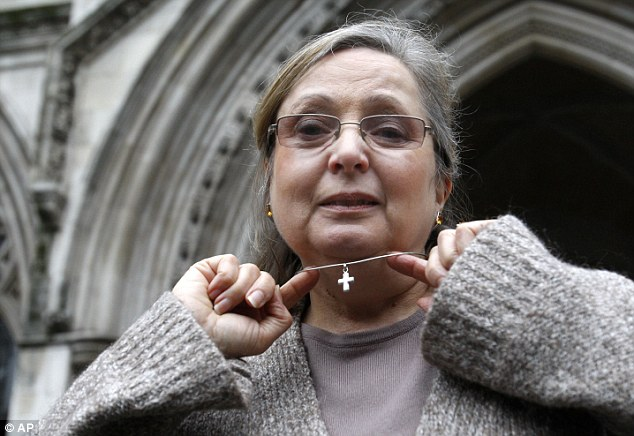 Nadia outside the Royal Courts of Justice, where she fought a ruling she was not a victim of religious discrimination by British Airways