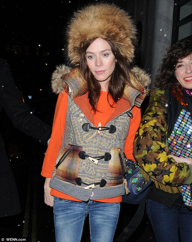 Wrapping up warm: The 36-year-old actress ensured she was prepared for the freezing weather as she headed out into the night