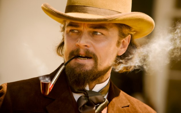 Acting out: Django meets charismatic plantation-owner Calvin Candie, played by Leonardo DiCaprio