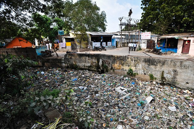 Rundown: The tannery in Madras lies down a narrow lane next to a nullah, an open drain choked with rubbish