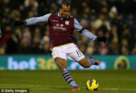 Two goals clear: Gabby Agbonlahor (pictured) doubled Villa's lead before half-time