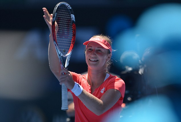 She's done it! Russia's Ekaterina Makarova celebrates after beating Germany's Angelique Kerber