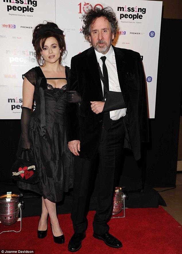 Moral support: Helena's husband Tim Burton accompanied his wife to the event, where she picked up the Dilys Powell award