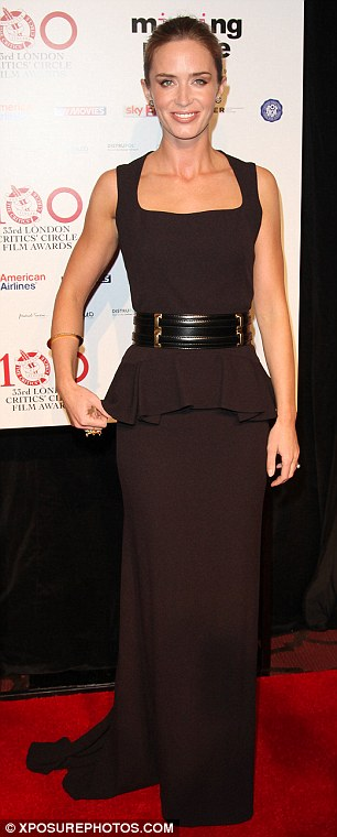Simple but chic: Emily Blunt stole the show at the London Critics' Circle Film Awards on Sunday night in a chic black gown